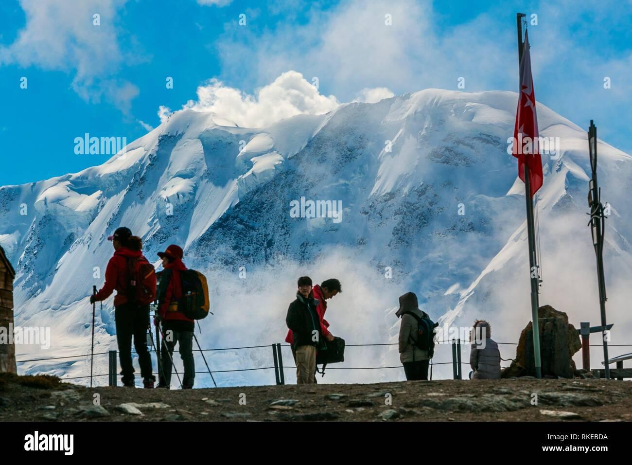 Blick auf liskamm Peak (4527 m) von Rothorn (3.103 m). Aussichtspunkt. Zermatt. Schweizer Alpen. Wallis. Die Schweiz. Europa. Stockbild