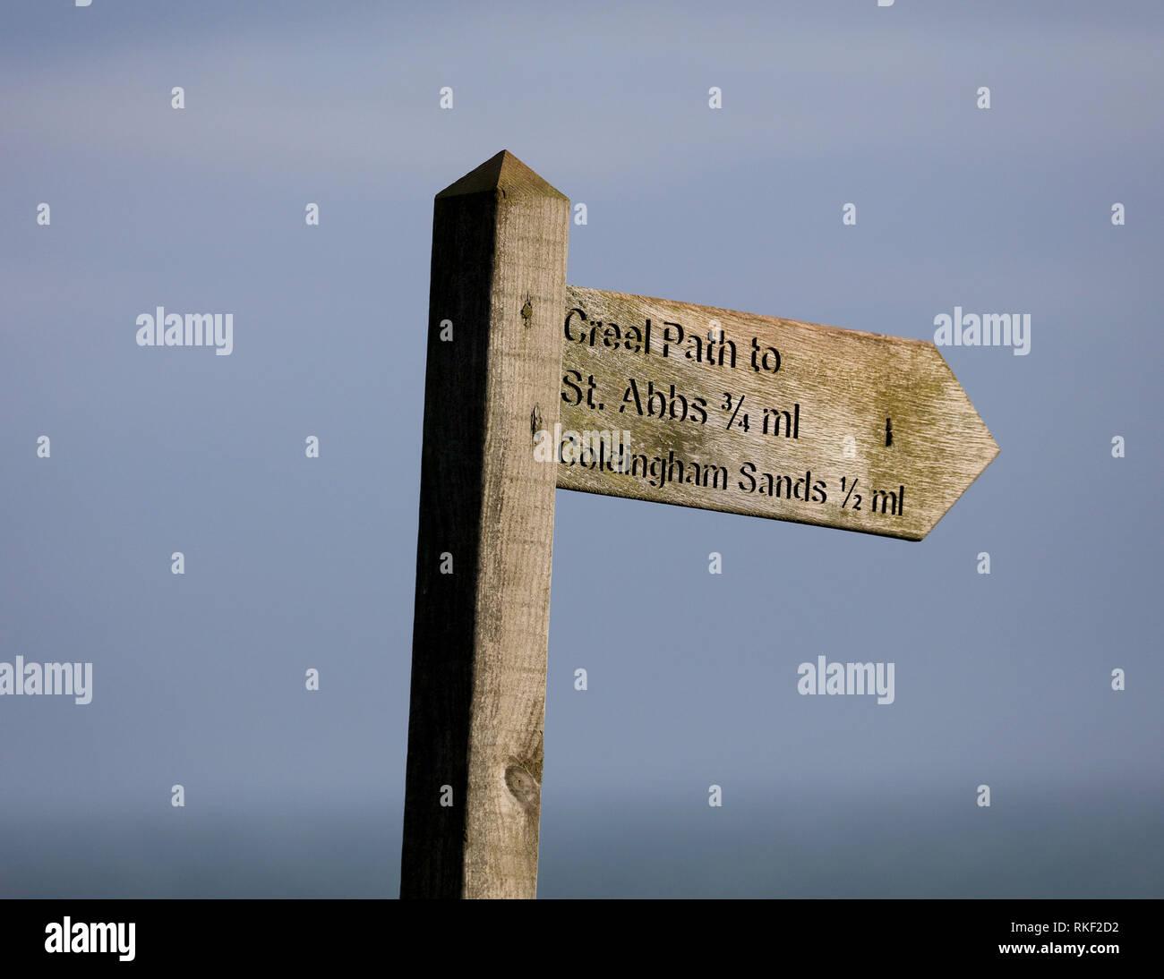 Finger post südöstlichen Küste von Schottland. Stockbild