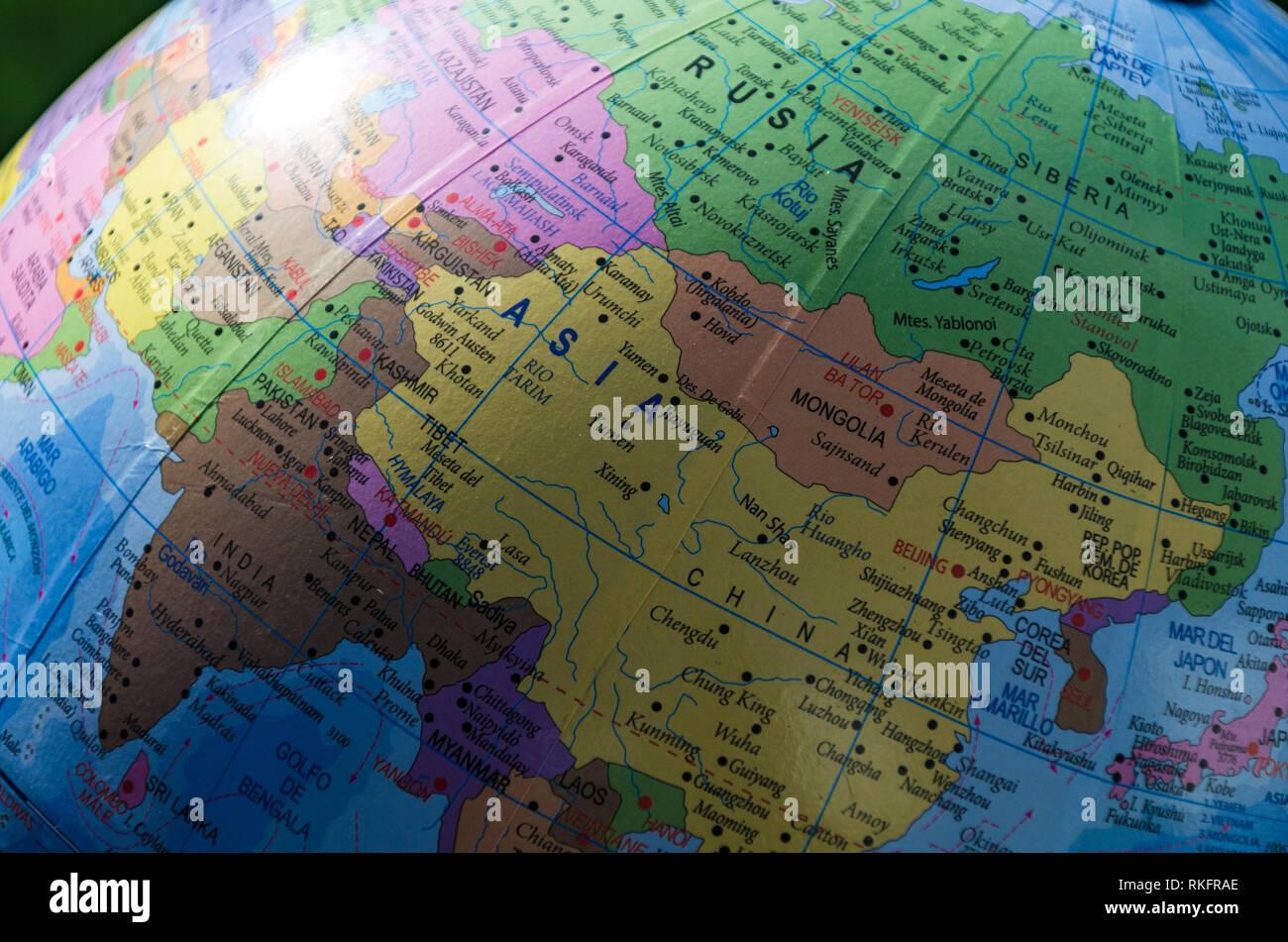 Karte Russland Asien.Karte Von Europa Asien Und Russland In Einem Geographischen Globus