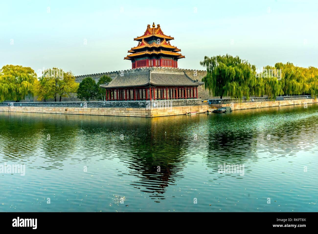 Pfeil Watch Tower Gugong Verbotene Stadt Graben Canal Plaace Wand Beijing China. Der Kaiserpalast in den 1600er Jahren in der Ming Dynastie errichtet wurde. Stockbild