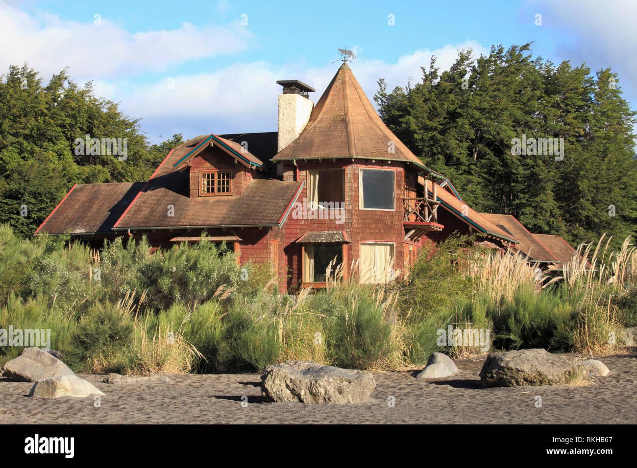Chile, Lake District, Petrohue, Haus, Gebäude, das die traditionelle Architektur, Stockbild