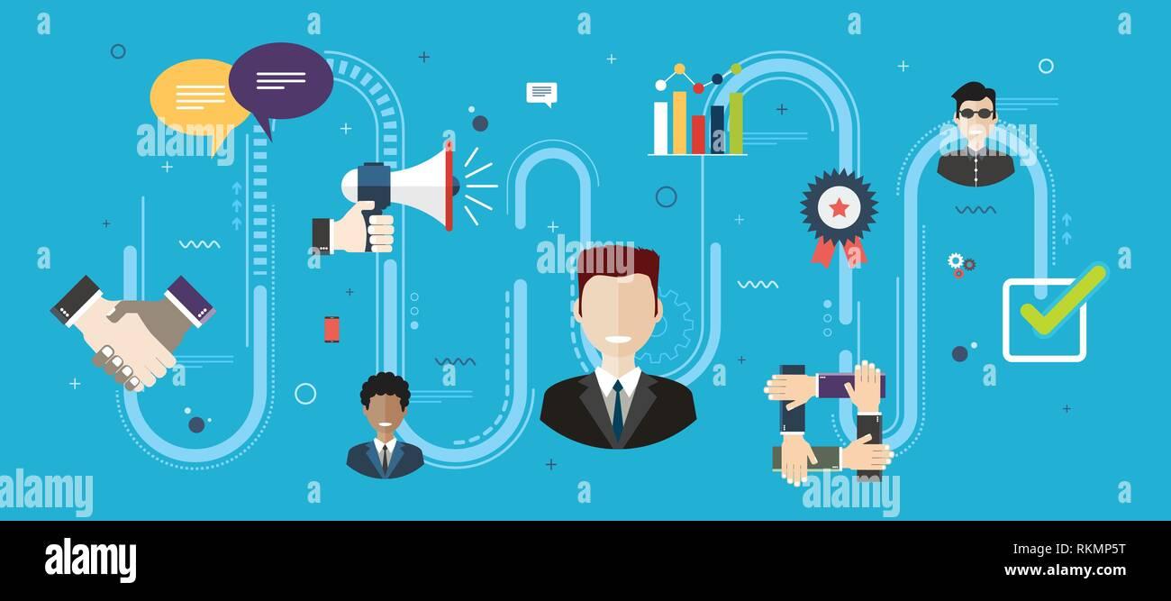 Pflege in Business Management und Qualität der Leistungserbringung. Evaluation und Unterstützung nach dem Verkauf des Produkts. Customer Relationship Konzept Stock Vektor