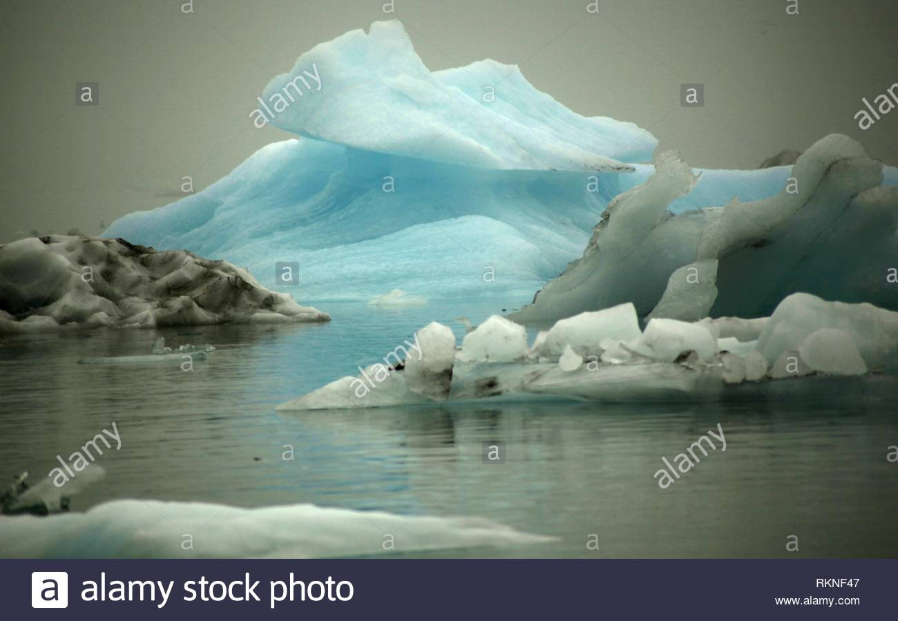 Der Gletschersee Jökulsárlón, Breidamerkurjokull, Eiskappe des Vatnajökull, Island Stockbild