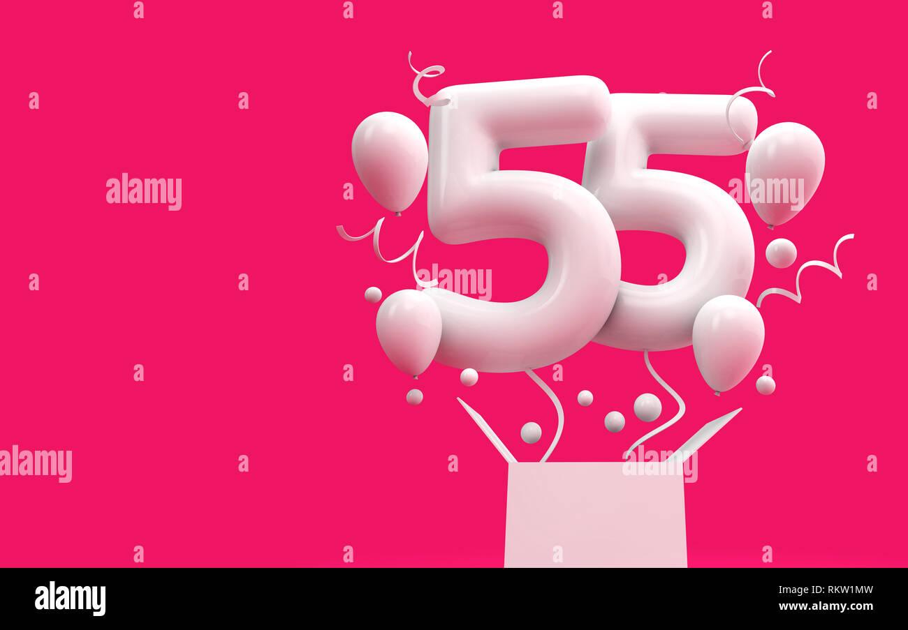 Happy 55th Birthday Uberraschung Ballon Und Box 3D Rendering