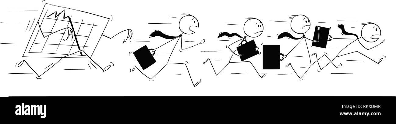Cartoon von Gruppe oder Team der Unternehmer in Panik weg von der Grafik läuft Stockbild