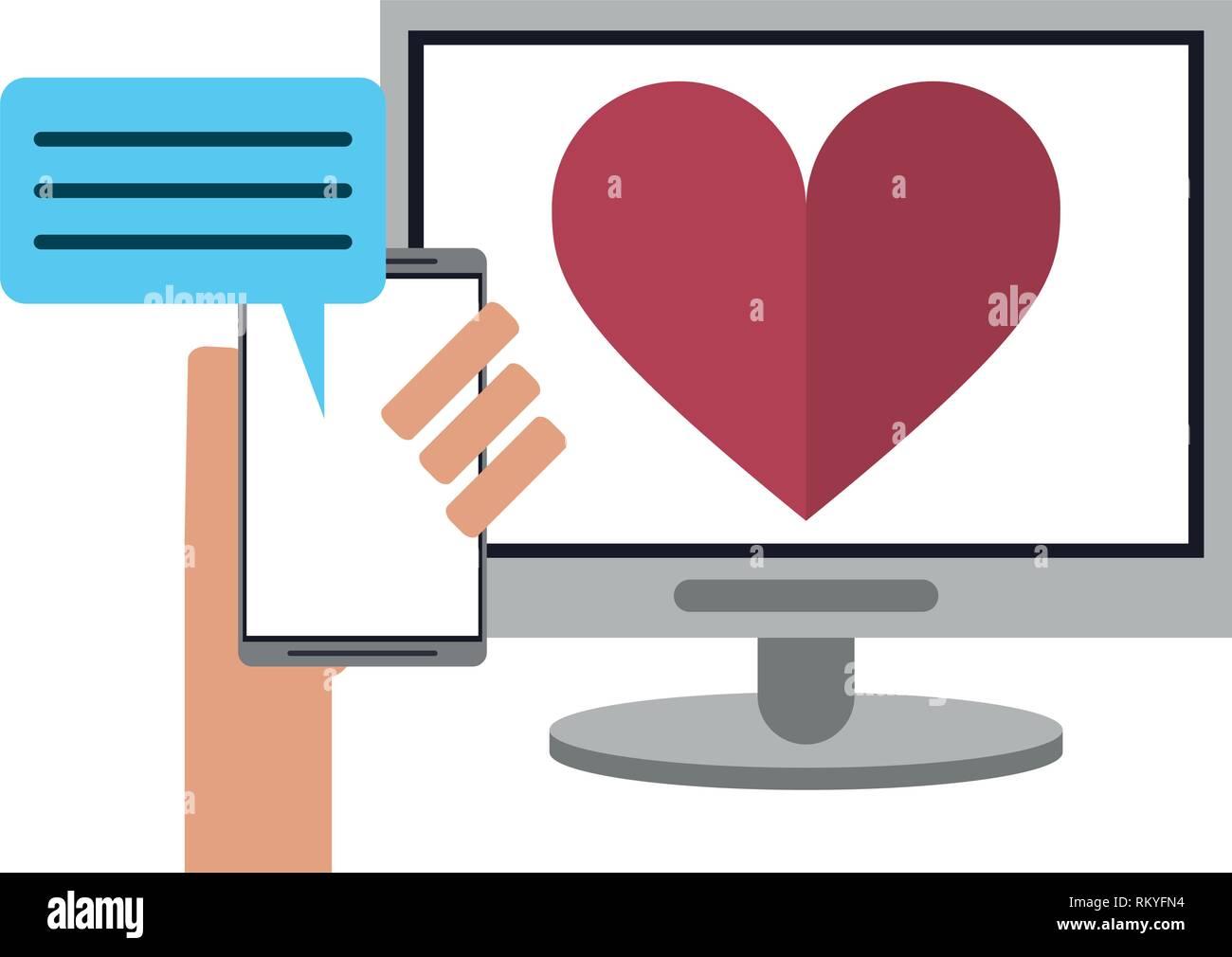 Beziehung mit Computer und Smartphone chat Stock Vektor