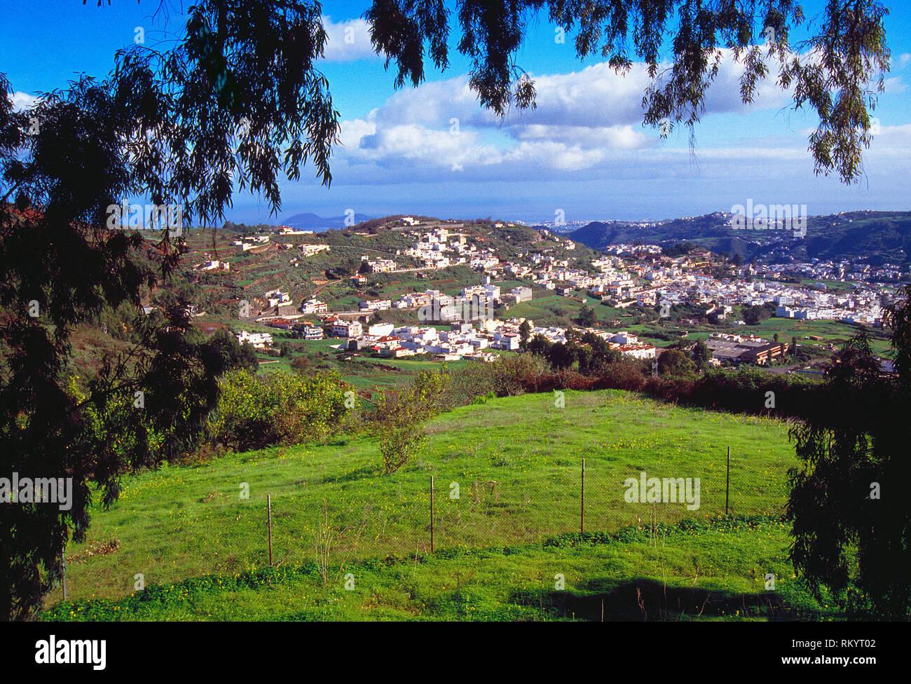 Übersicht und Landschaft. Telde, Gran Canaria, Kanarische Inseln, Spanien. Stockbild