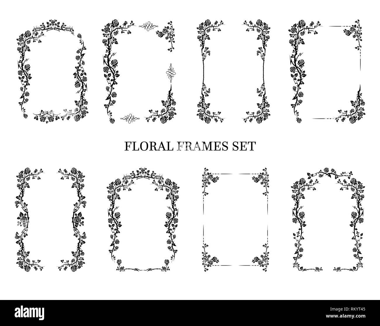 Schwarz Eleganten Rahmen Der Rosen Für Urlaub Design Hochzeit