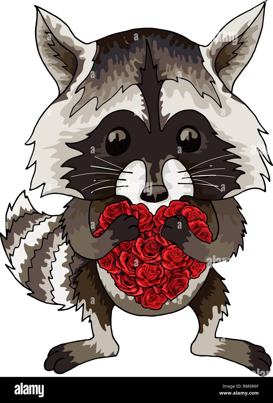 Waschbär Lustige Tier Mit Roten Rosen Herzen Cartoon Farbigen