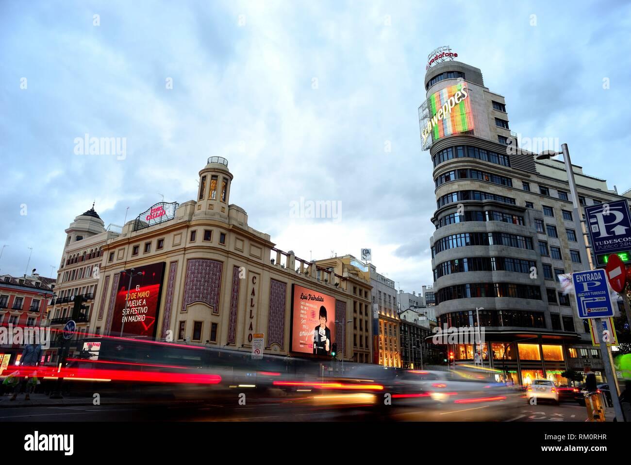 Platz von Callao in der Gran Via, Madrid, Spanien. Stockbild