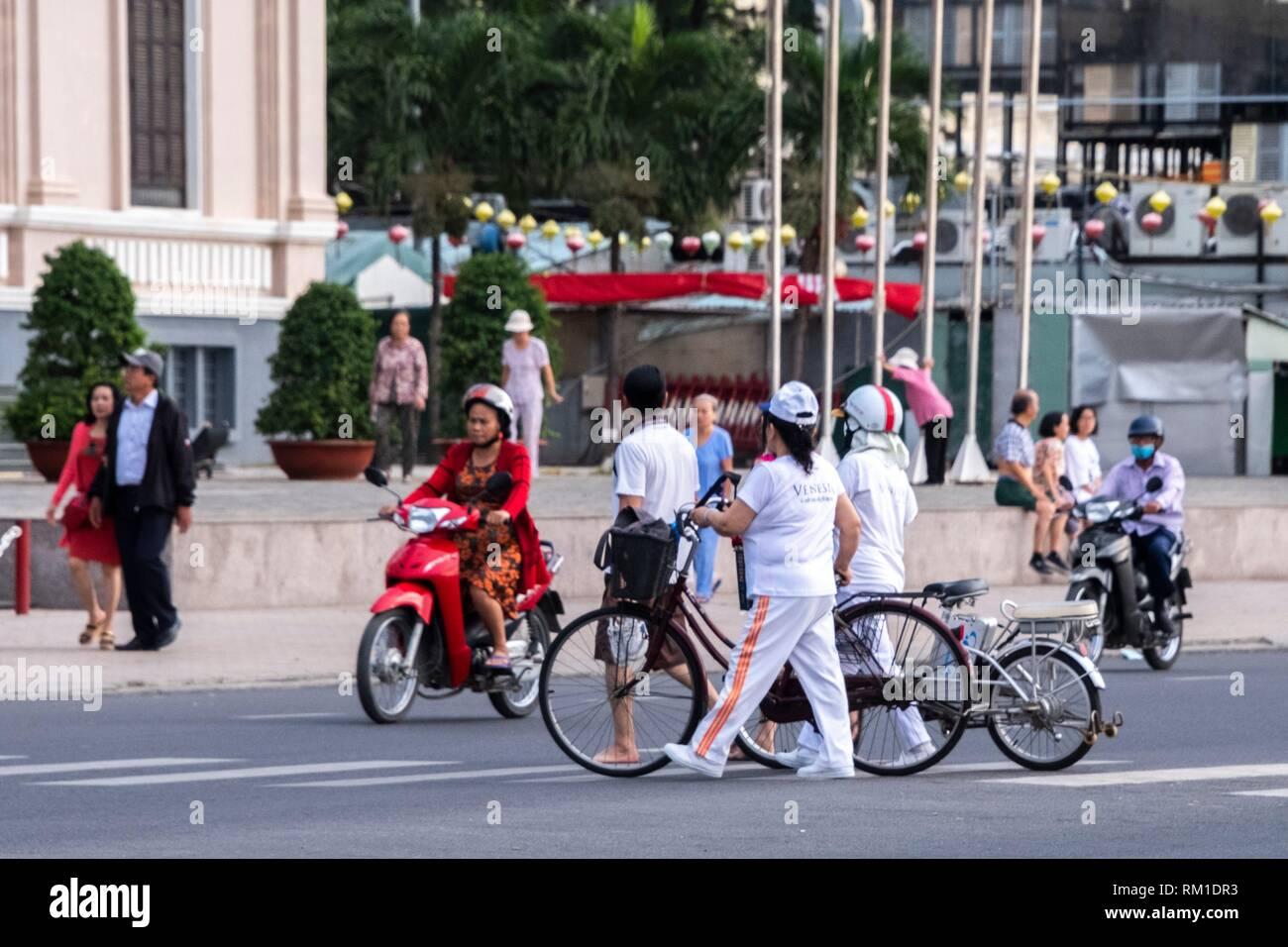Typische Verkehr in Nha Trang, Vietnam, Asien Stockfoto