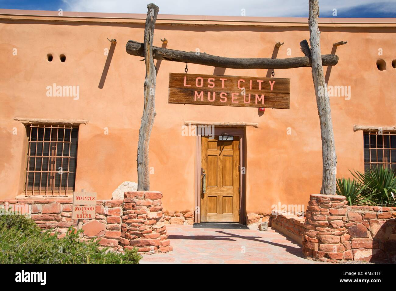 Eingang, Lost City Museum, Overton, Nevada. Stockbild