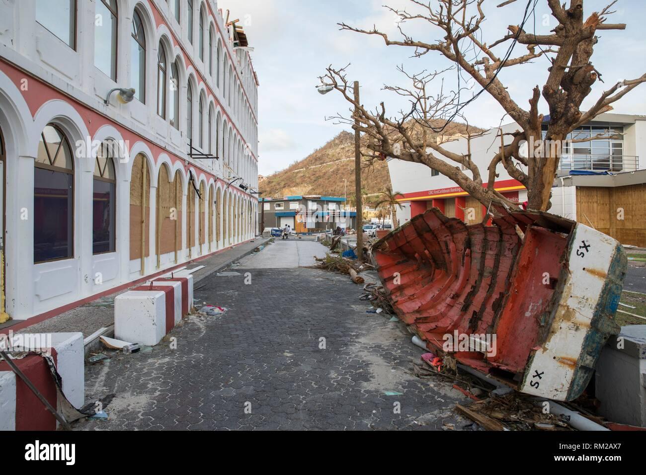 SAINT MARTIN - Die niederländischen Teil von St. Martin (Sint-Maarten) ein paar Tage nach dem Hurrikan Irma. Stockbild