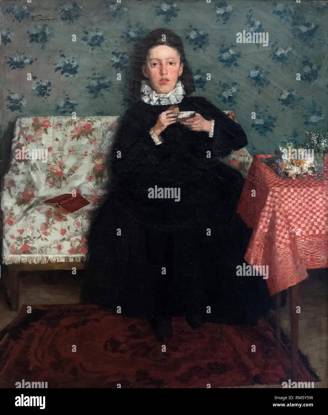 Wilhelm Trübner (1851-1917), auf dem Sofa, 1872. Auf dem Kanapee. Alte Nationalgalerie, Berlin. Stockbild