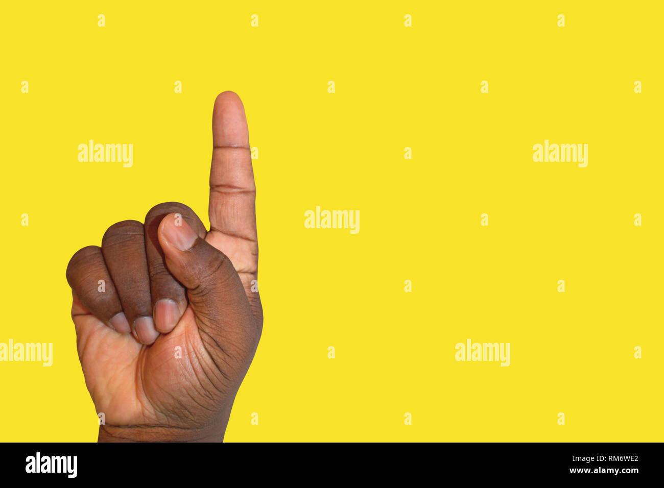 Erhobenen hand um Erlaubnis zu fragen oder Beantwortung einer Frage - Zeigefinger nach oben, Ehrenamt oder identifizieren Stockbild