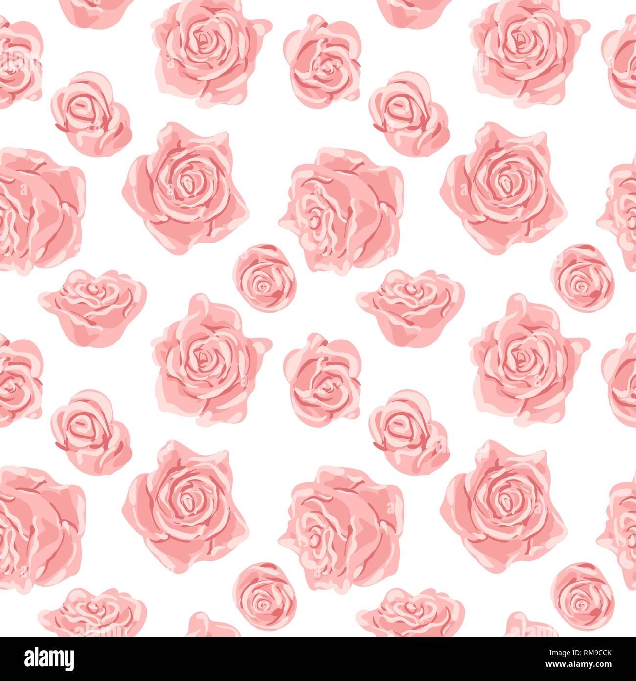 Nahtlose Muster mit rosa und weißen Rosen. Romantische Tapeten. Hand ...