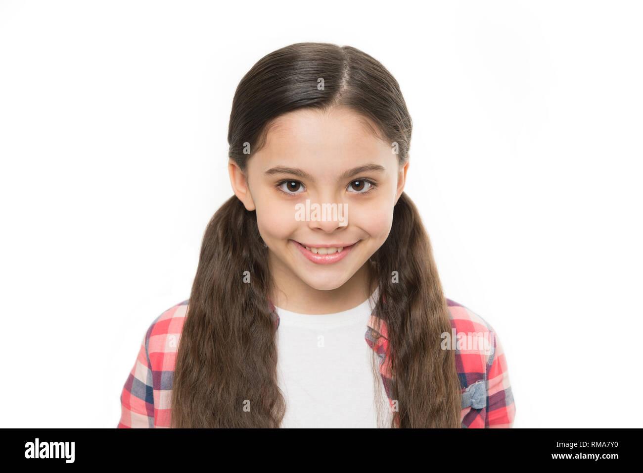 Kraftiges Haar Konzept Kind Madchen Lange Gesund Glanzendes Haar