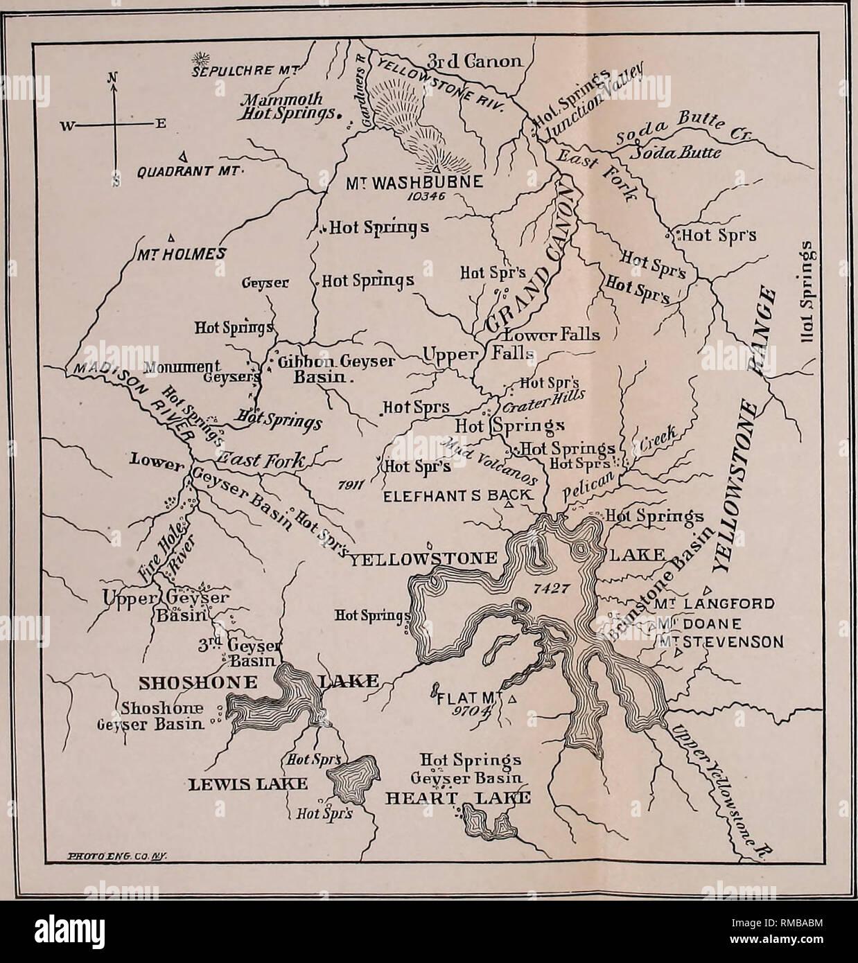 Yellowstone Karte.Jahresbericht 1 St 12th 1867 1878 Geologie Karte Von Yellowstone