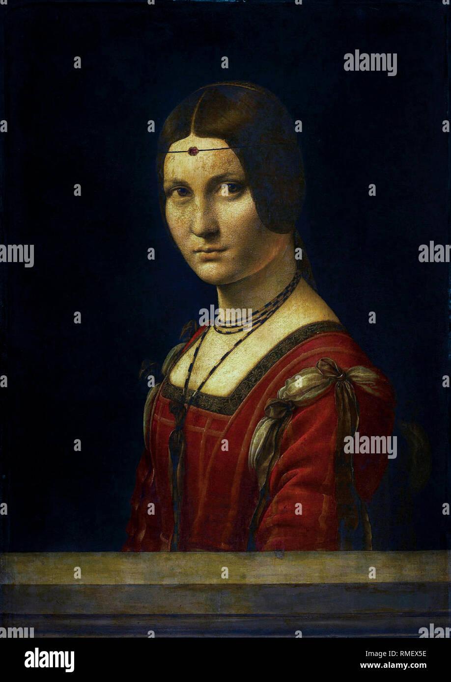Leonardo da Vinci, Porträt einer unbekannten Frau, La Belle Ferroniere, Malerei c 1496 Stockbild