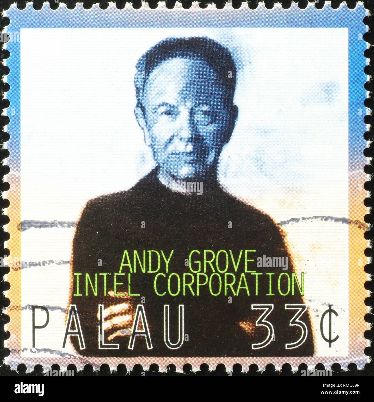 Andy Grove, Mitbegründer von Intel auf Briefmarke Stockbild