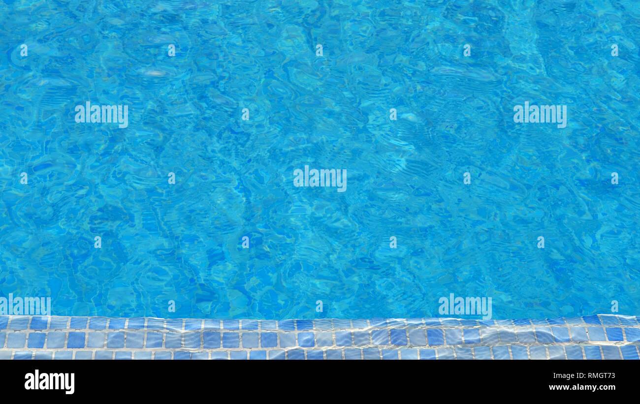 Schwimmbad Wasser Hintergrund mit Mosaikfliesen an einem Ende, die Beschaffenheit der Oberfläche mit Ripple Effect, Konzept für Sommerferien Stockfoto