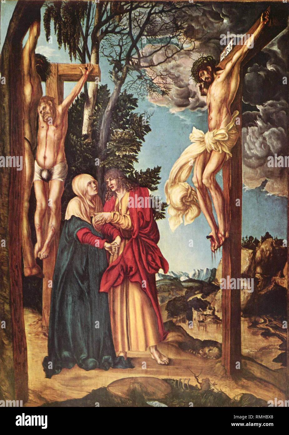 Kreuzigung Christi von Lucas Cranach dem Älteren, 1503 Stockbild