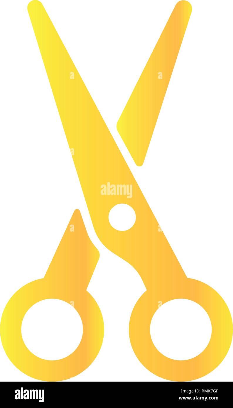 Gold Schere Auf Weißem Hintergrund Symbol Schere Vector