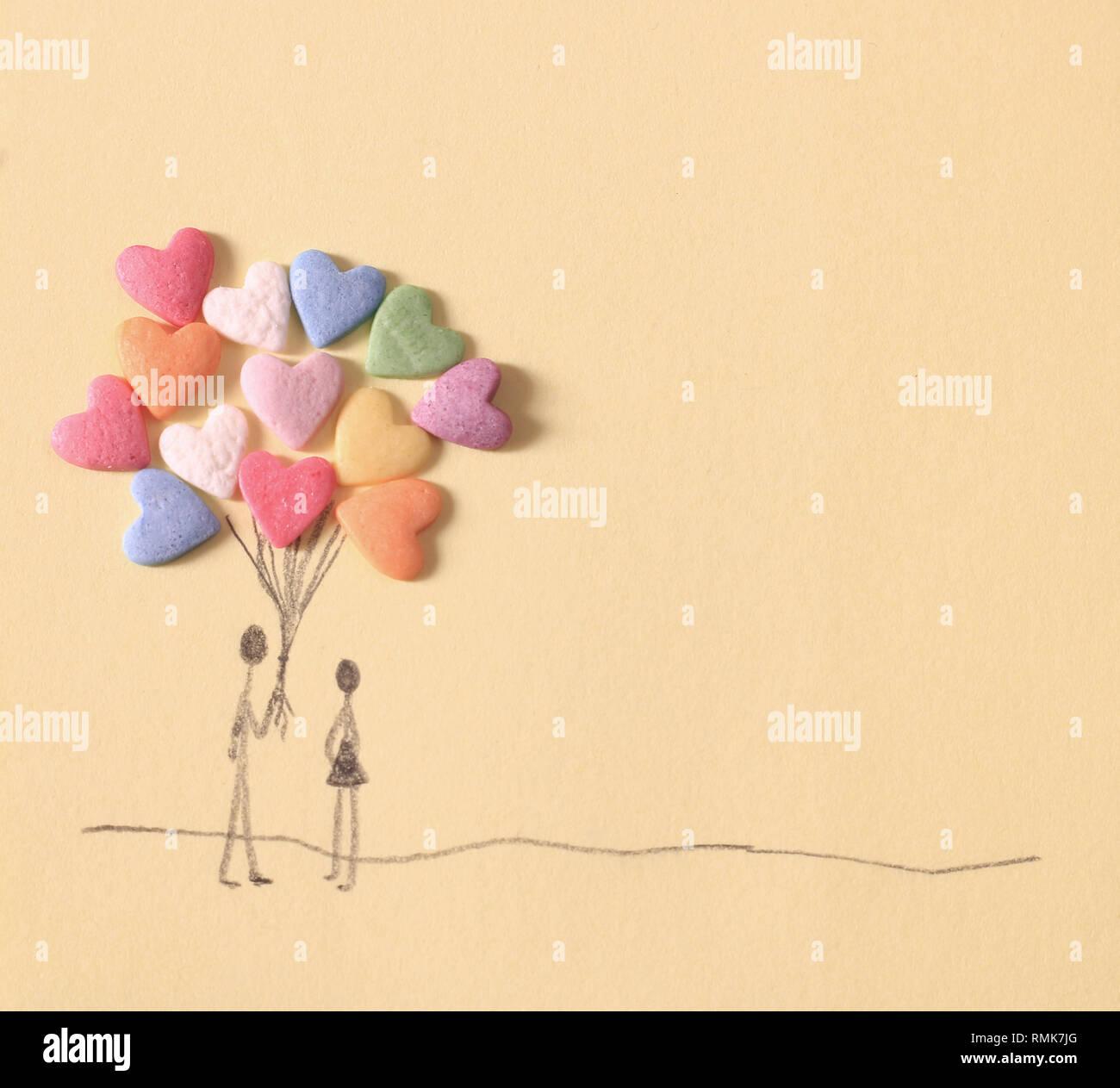 Candy Herz Ballon handgezeichnete Grafik für Valentinstag Karte Stockbild