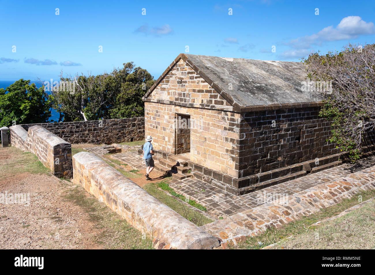 Gebäude aus Stein im Blockhaus Ruinen, die Nelsonâ ? ? s Dockyard Nationalpark, Saint Paul Pfarrei, Antigua, Antigua und Barbuda, Kleine Antillen, Karibik Stockbild