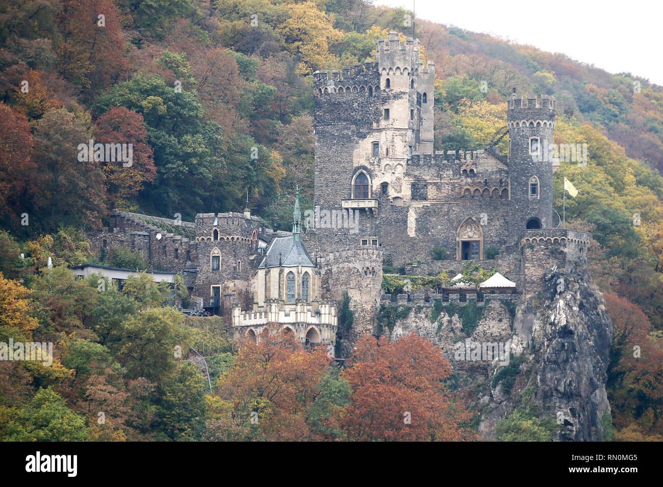 Romantik-Schlo ß Burg Rheinstein, Deutschland Stockbild