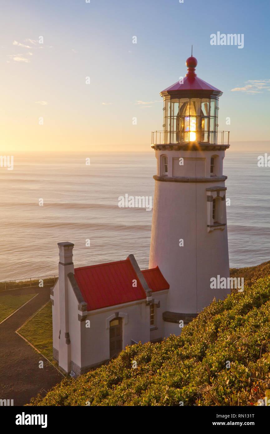 Haceta Head Lighthouse auf der Oregon Küste in der Nähe von Florence Oregon Stockbild