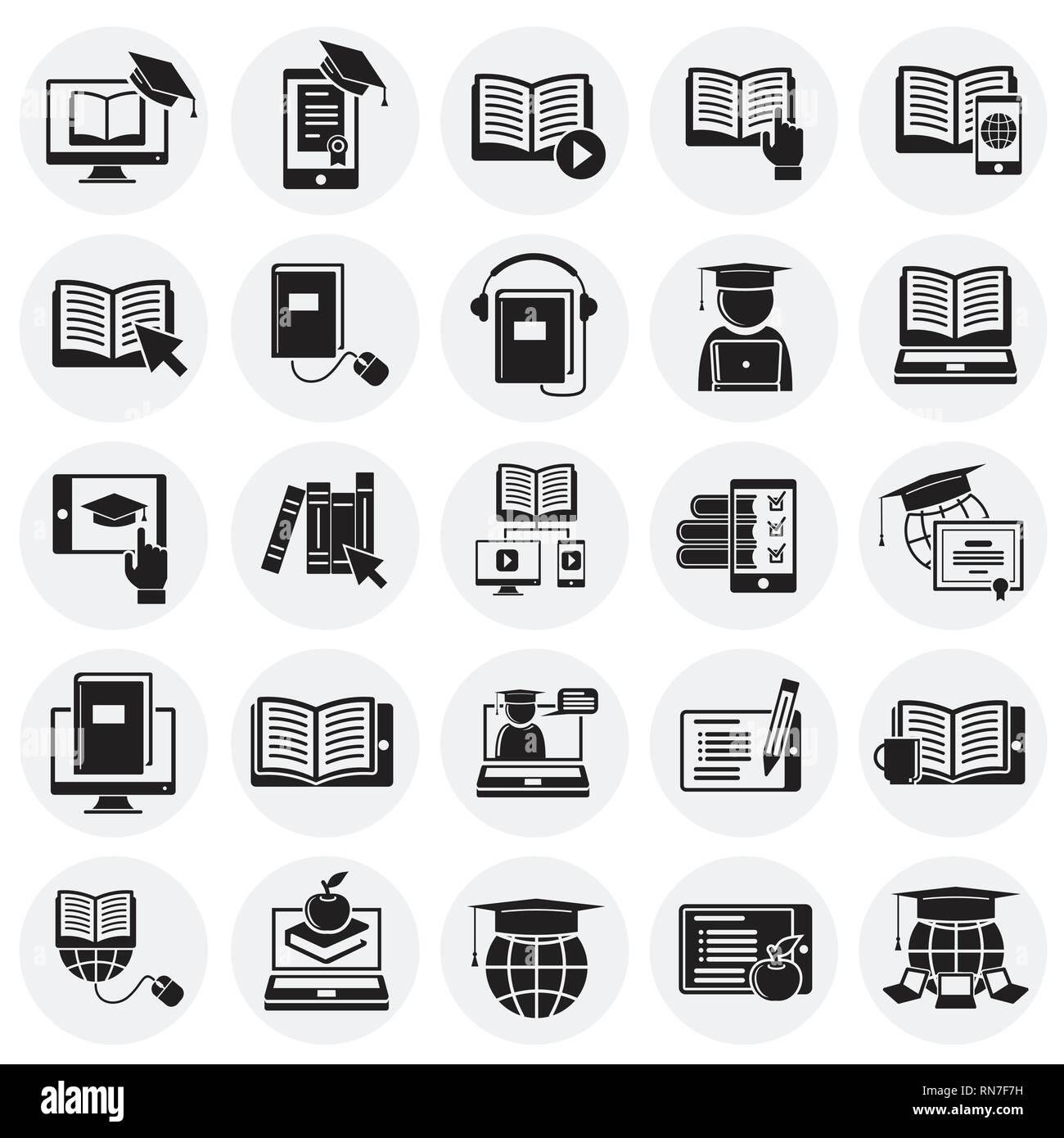 E Learning Symbole Auf Kreise Hintergrund Für Grafik Und Webdesign