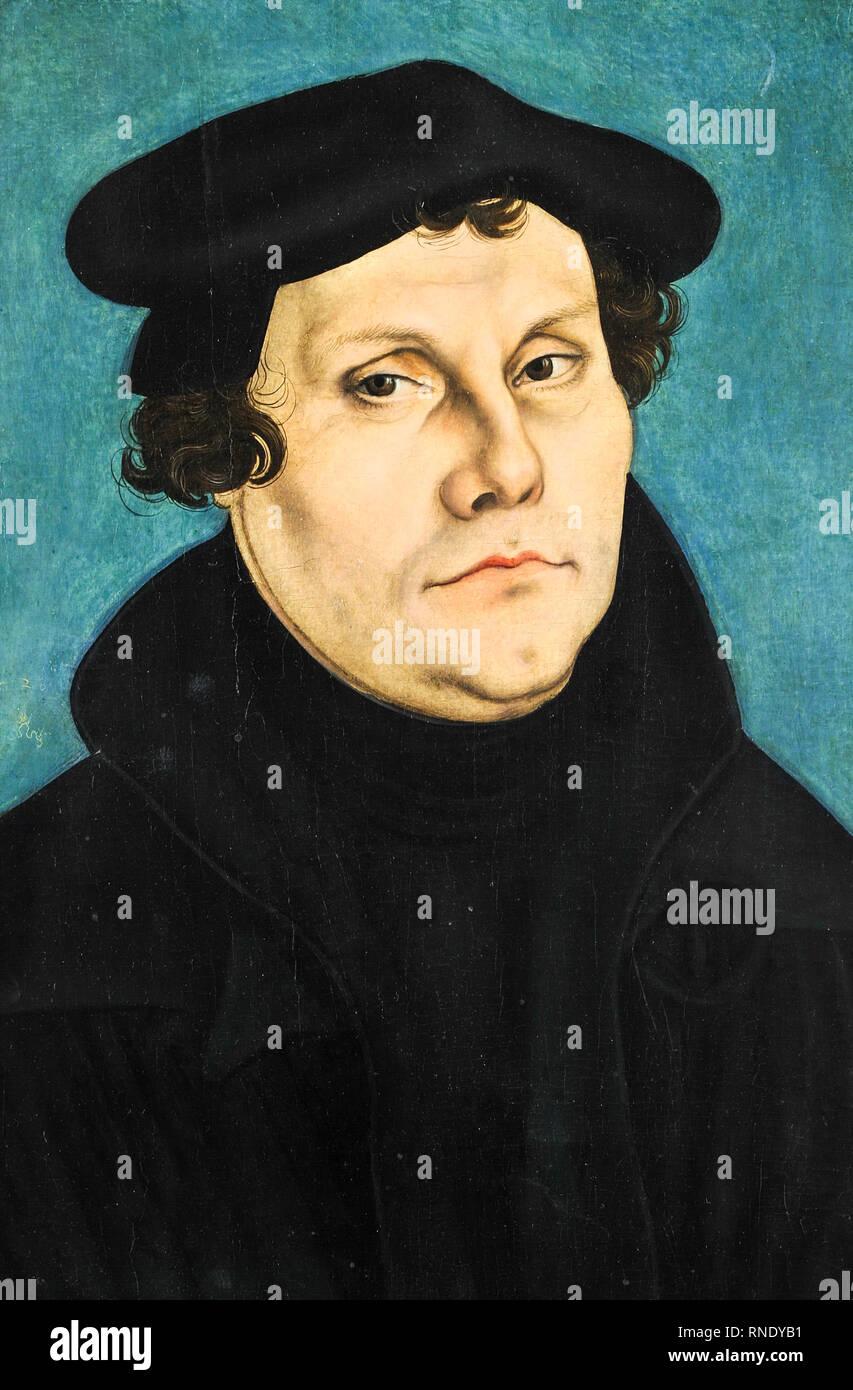 Martin Luther Portrait von Lucas Cranach dem Älteren, Malerei, 1528 Stockbild
