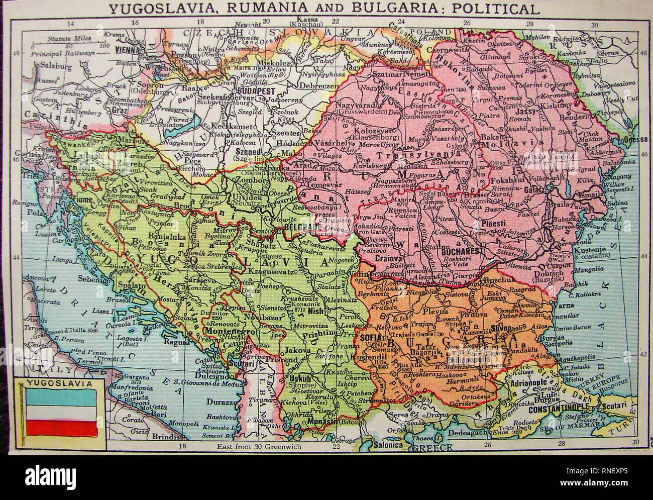 Jugoslawien Karte.1922 Farbige Politische Karte Von Jugoslawien Rumänien Und