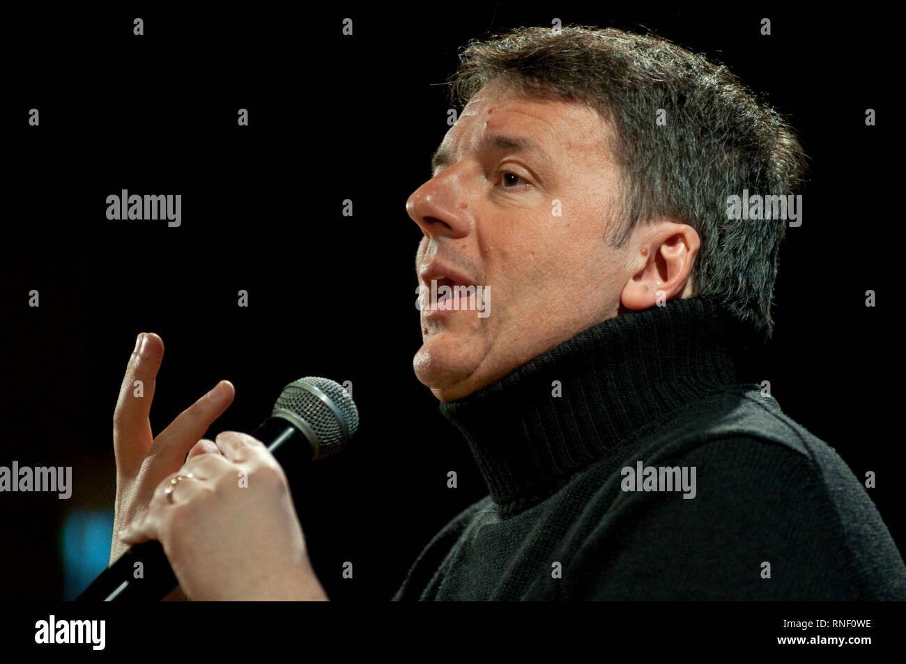 17. Februar 2019 - Italien, Lombardei, Treviglio, Matteo Renzi, bei der Präsentation seines Buches Un'altra Strada. Idee per l'Italia di Domani. Stockbild