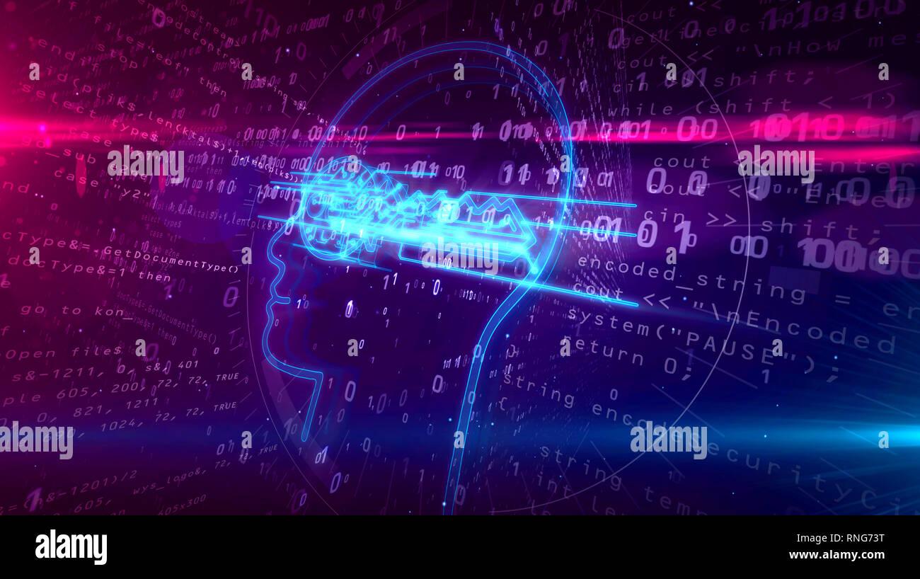 Cyber Privatsphäre und Schutz personenbezogener Daten Symbol auf digitalen Hintergrund. Verschlüsselung, private Schlüssel und das Kennwort abstrakte Konzept 3D Lllustrat Stockbild