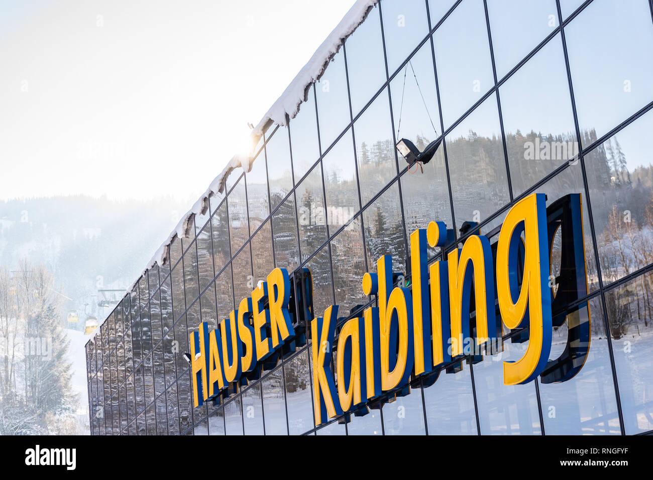 Skigebiet Hauser Kaibling in Österreich Top Skigebiete: 44 Lifte, 123 km Pisten, Ski Österreich, Alpen, Ski Amade Stockfoto