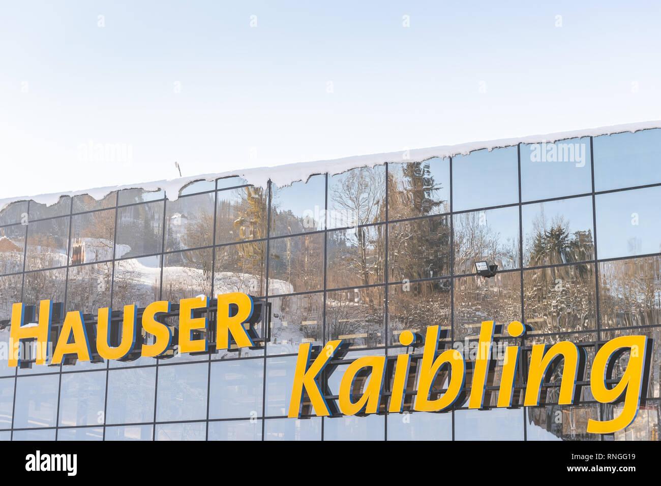 Skigebiet Hauser Kaibling in Österreich Top Skigebiete: 44 Lifte, 123 km Pisten, Parkplatz, Schladminger 4-Berge miteinander verbunden Stockfoto