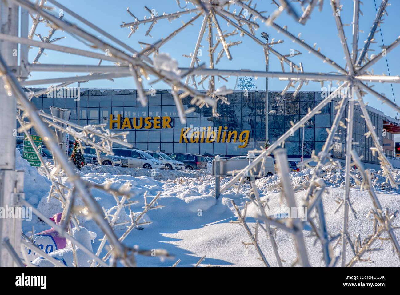 Skigebiet Hauser Kaibling - einer von Österreichs Top Skigebiete 44 Liftanlagen 123 km Pisten, Parkplatz, Schladminger miteinander 4 Berge Stockfoto