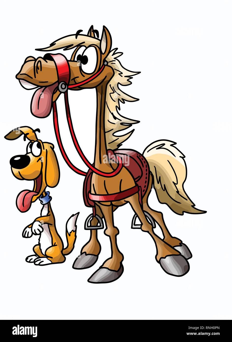freundschaft zwischen einem cartoon pferd und hund vector