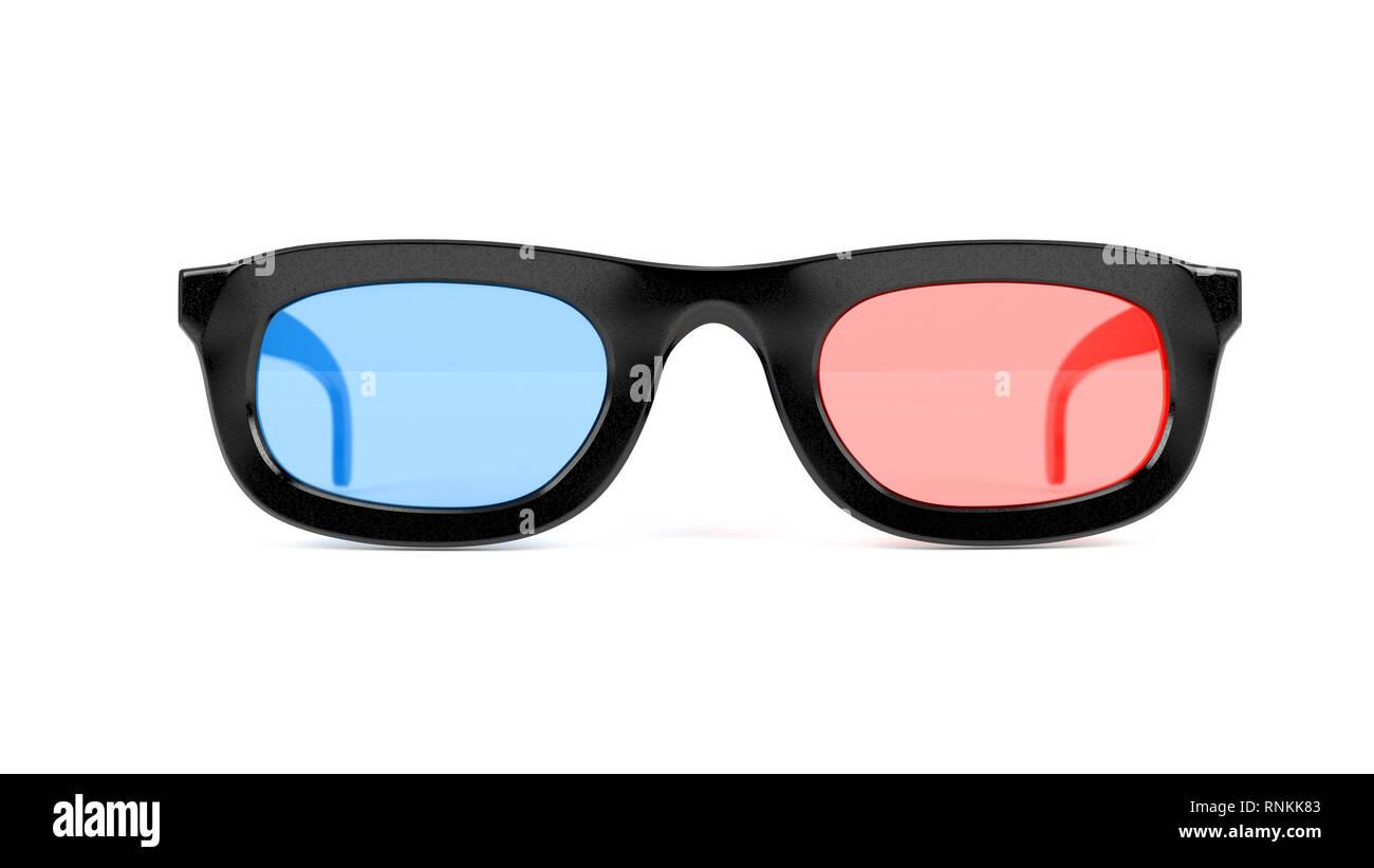 3D-Brille. Rosarote Brille für Kino. 3D Rendering Illustration isoliert Stockbild