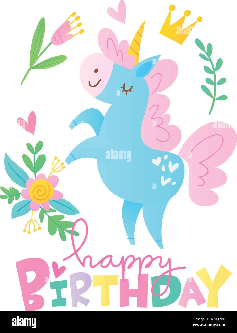 Vektor Happy Birthday Cards mit cartoon Einhorn Charakter Stock Vektor