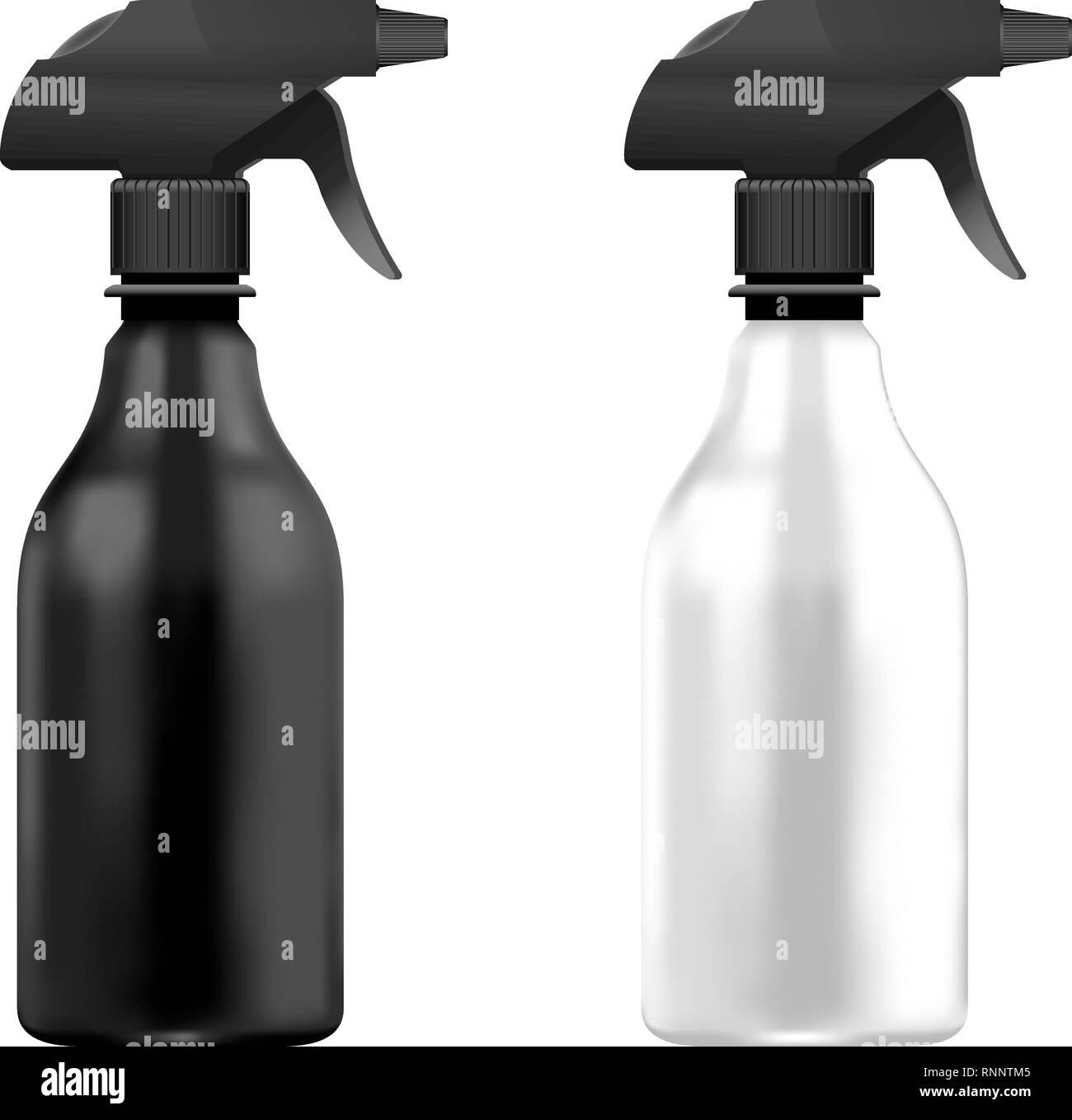 Schwarze und Weiße Kunststoff Pumpe Flaschen auf Hintergrund