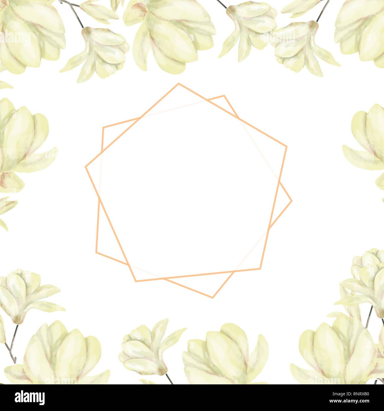 Hochzeit einladung floral einladen karte olive floralen und magnolia geometrische goldene rahmen drucken weißer hintergrund