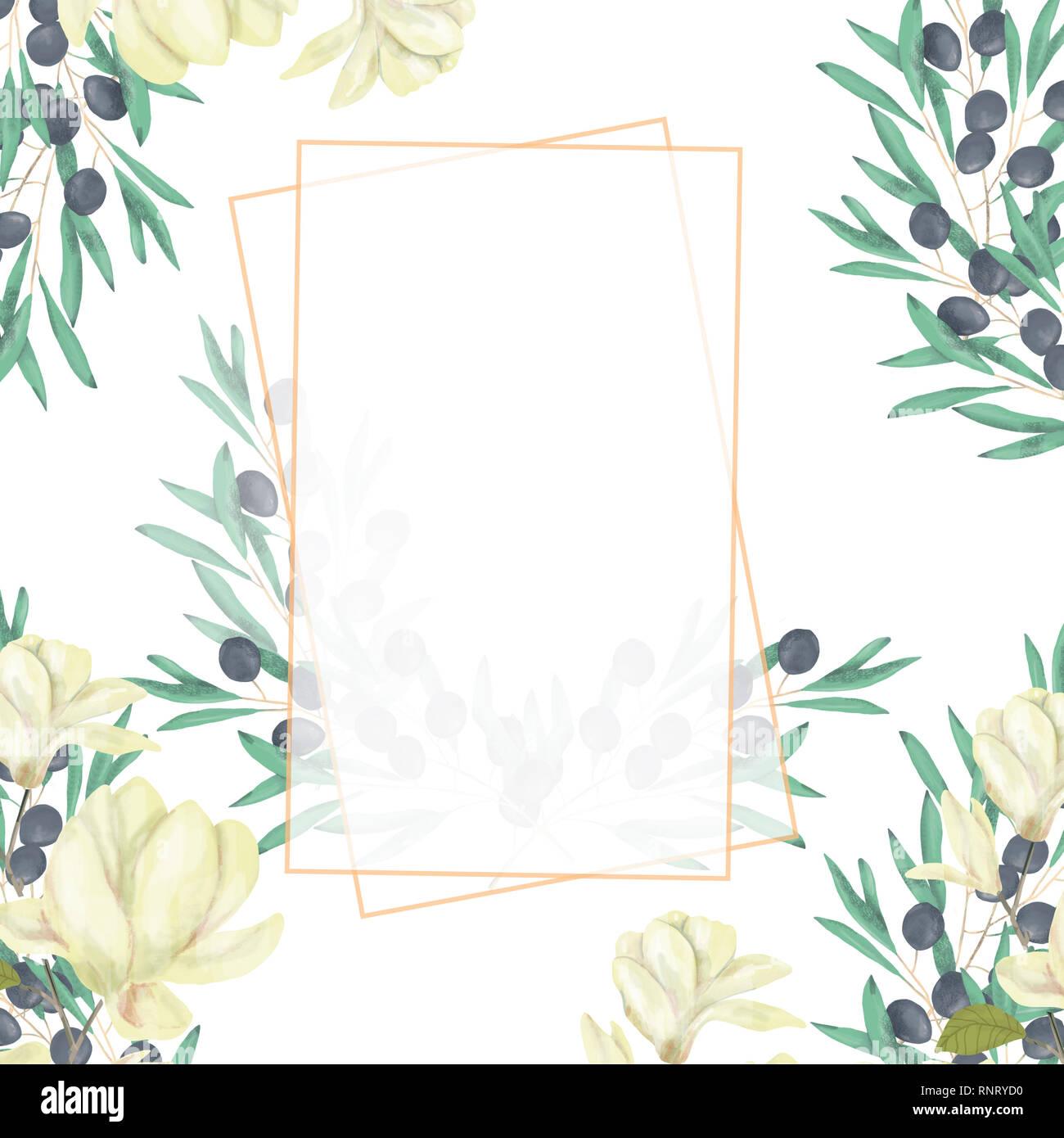 Hochzeit Einladung Floral Einladen Karte Olive Floralen