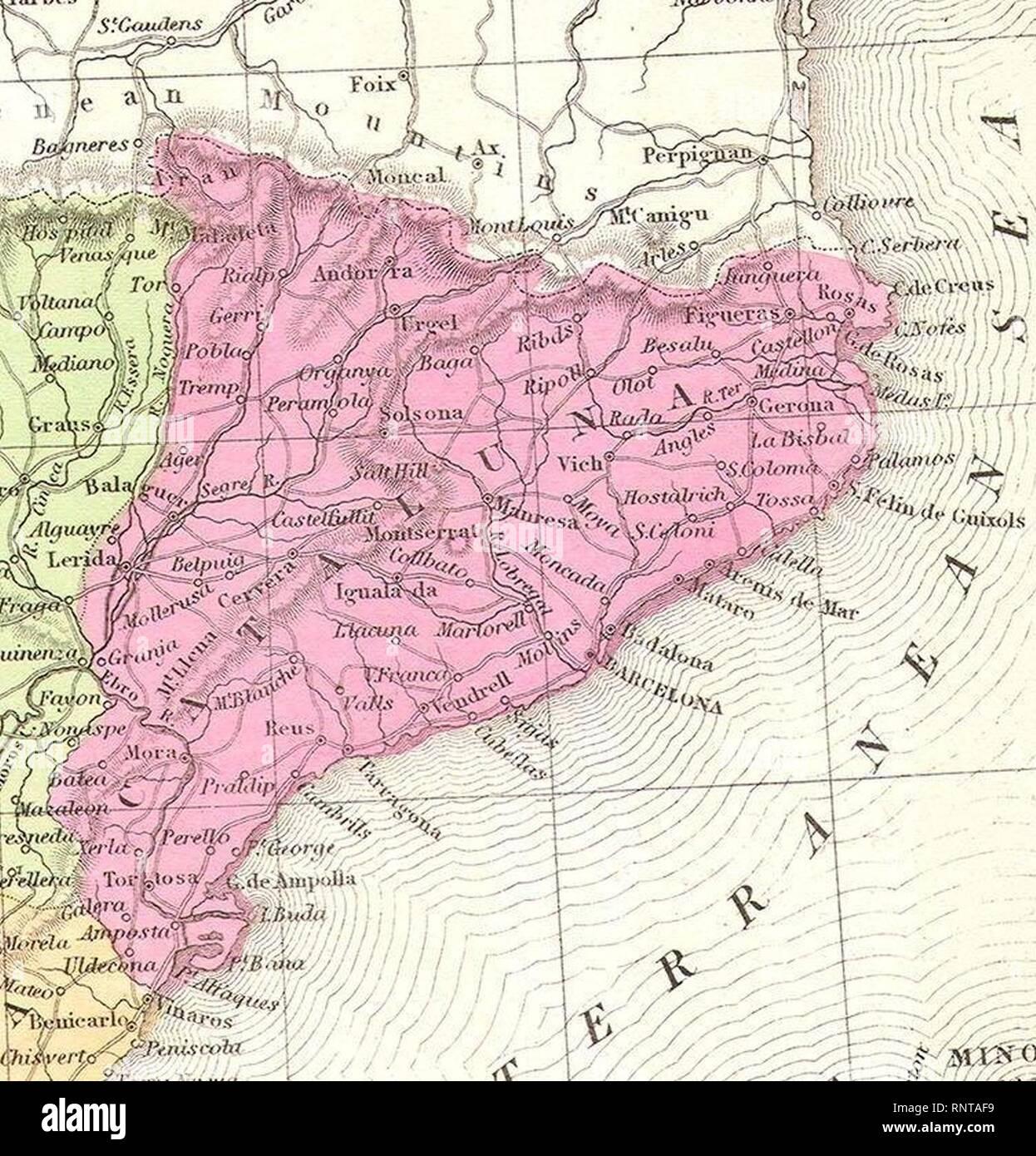 Spanien Katalonien Karte.Katalonien 1850 Mitchell Karte Von Spanien Und Portugal