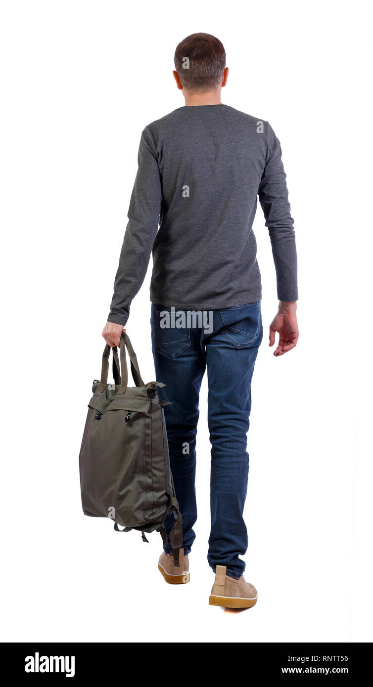 ca632ecb36938 Rückansicht des walking Mann mit grünen Tasche. Rückseite Ansehen der  Person. Ansicht von hinten leute Sammlung. Auf weissem Hintergrund.