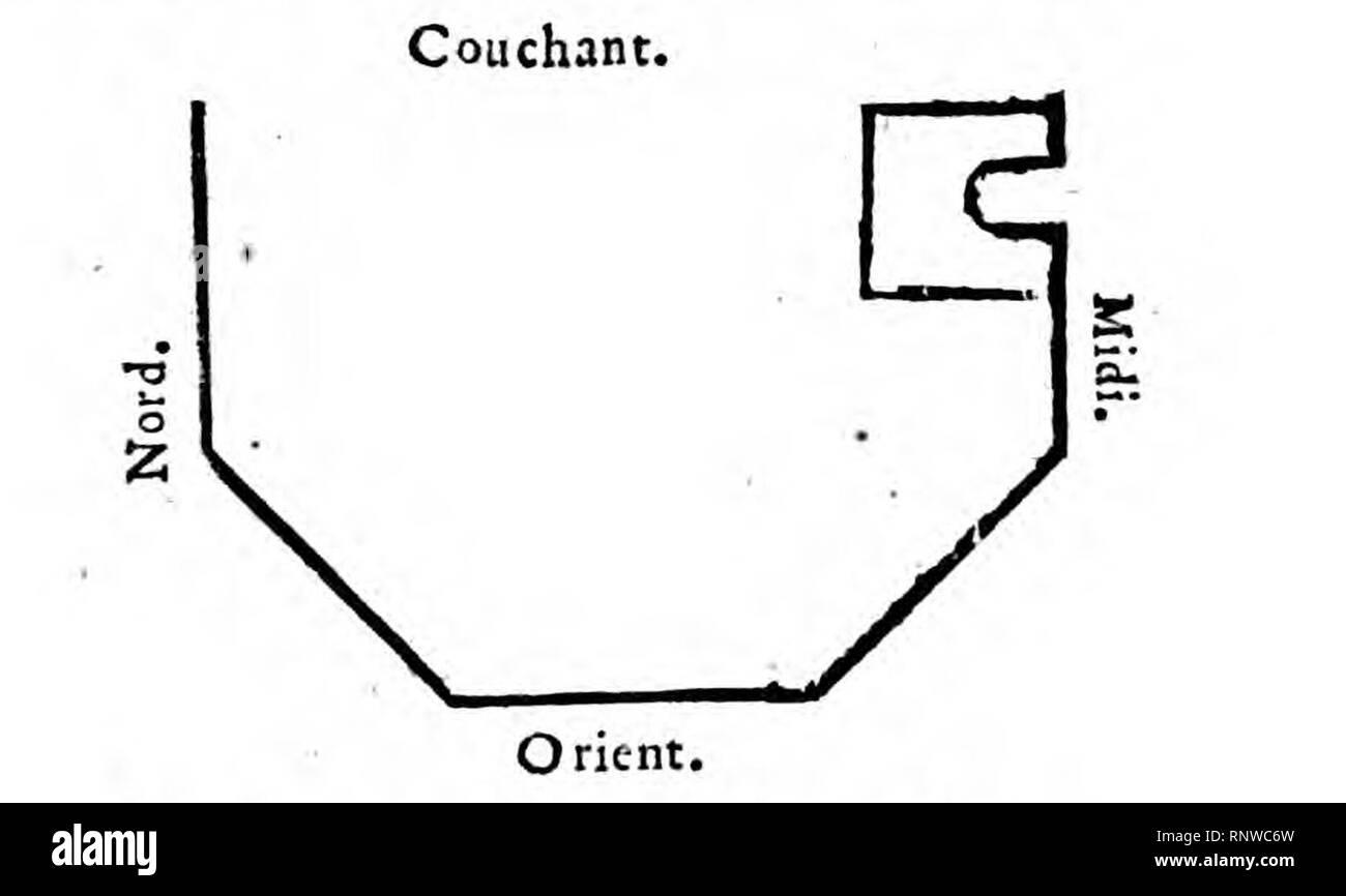 Cestas plan du Temple octogone Jaubert 1743. Stockbild