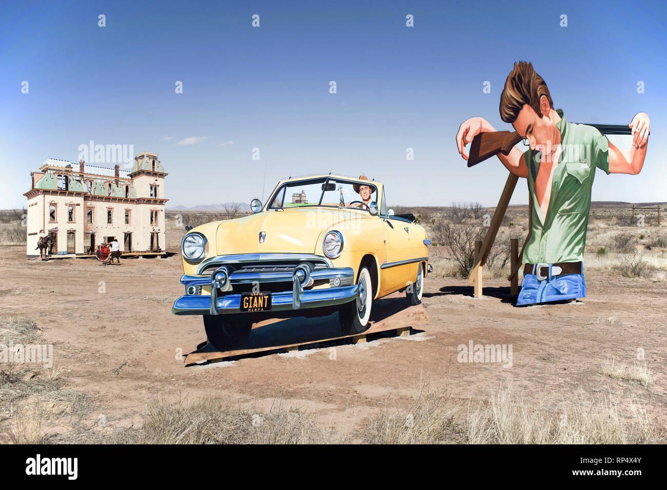 Cut-out Bildnis des Schauspielers James Dean, Teil einer Open-Air-Ausstellung auf dem Gelände in West Texas, wo der Film gedreht wurde Riese Stockbild