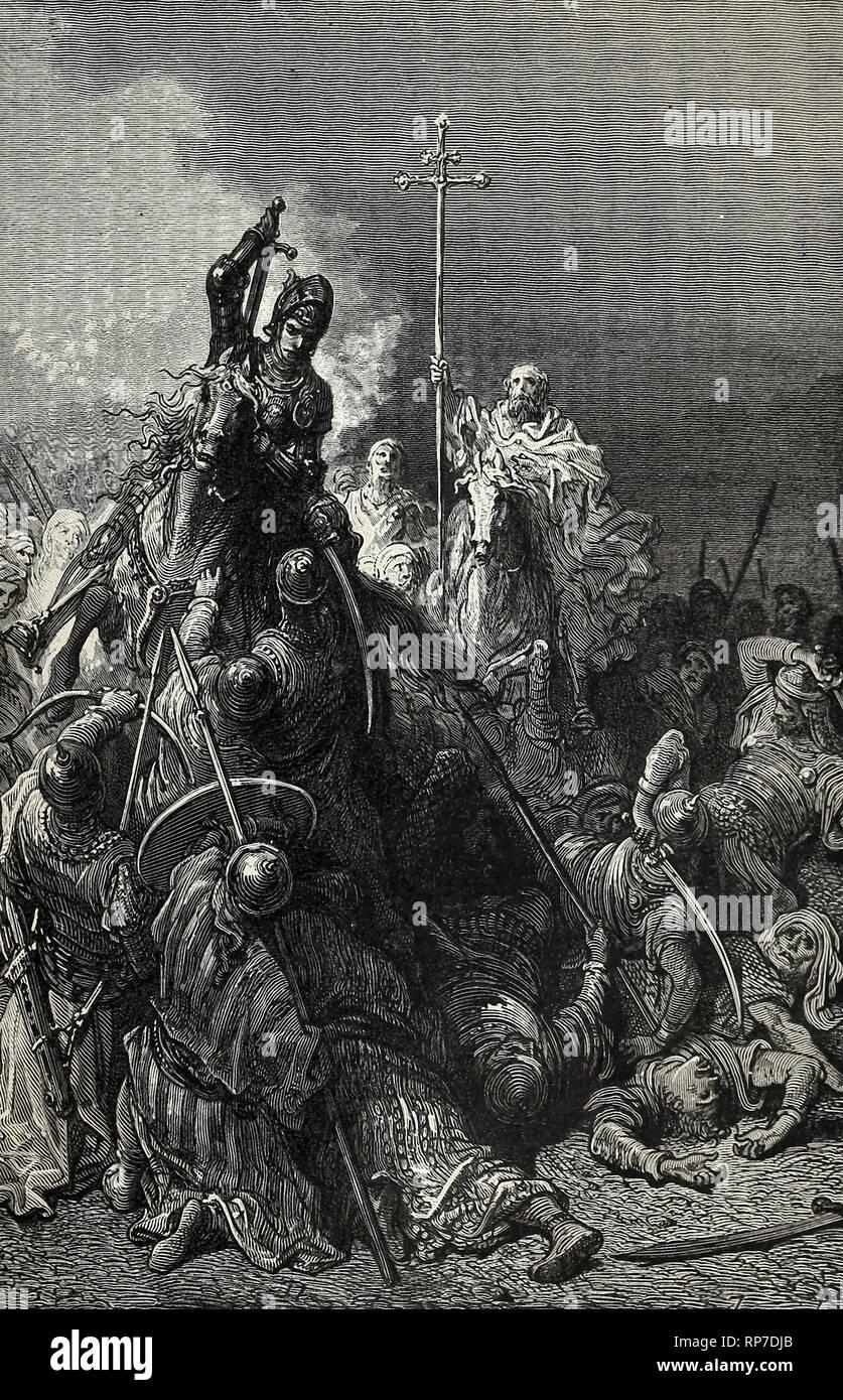 Hunyadi in Belgrad - der mächtige Krieger und der Mönch Capistran führen die Bauern gegen die Türken Stockbild